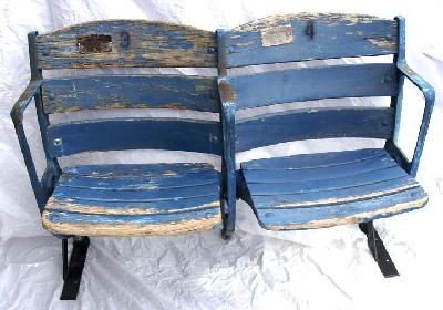 New York Yankees dual curved back unrestored stadium seats - circa 1950's and has certificate of authenticity plaque attached to the seats