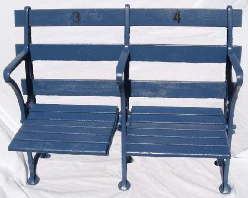 New York Yankees dual straight back restored stadium seats - circa 1920's and comes with certificate of authenticty plaque