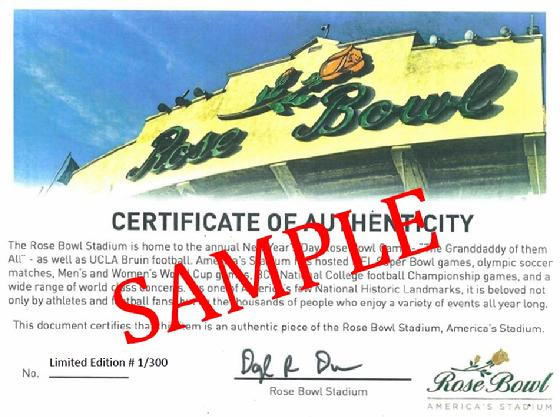 Rose Bowl Stadium Seat Certificate of Authenticity